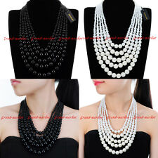 Fashion Jewelry Chain Resin Pearl Cluster Choker Statement Pendant Bib Necklace