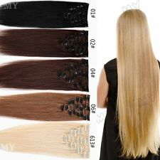 Soft Long Short Lengths Real Clip In Remy Human Hair Extensions Full Head US MX1