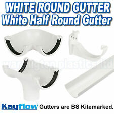 White Half Round Plastic Guttering  Downpipes Fittings 112mm Half Round Gutter