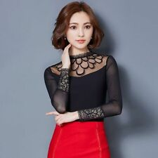 Sexy Womens Vintage Embroidered Lace Tops Shirt Mesh Sheer Casual Blouse Elegant