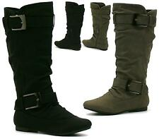 WOMENS MID CALF FLAT HEEL PULL ON KNEE LONG LADIES SLOUCH BOOTS SIZE
