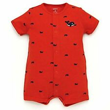 NWT CARTER'S BOYS WHALE ORANGE WITH NAVY WHALES PRINT CREEPER SIZES 3M