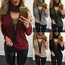 Women Sexy V Neck Turtleneck Lace Up Knitted Sweater Casual Pullover Jumper Tops