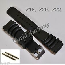 18MM,20MM 22MM DIVERS RESIN WATCH STRAP.MADE FOR SEIKO.CURVED VENT Z18, Z20, Z22