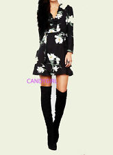 JOHN ZACK BLACK FLORAL WRAP FRILL DRESS