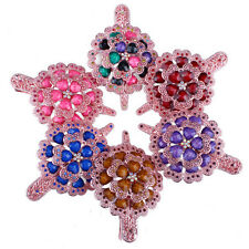 Exquisite Women Flower Hair Pin Crystal Clip Rhinestone Resin Colorful Headband