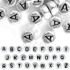 90pcs Acrylic Alphabet Letter Beads A-Z Round Jewelry Findings 7x7mm Silver