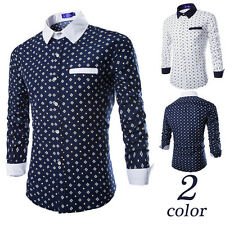 Luxury Mens Casual Shirt Stylish Slim Fit Long Sleeve Casual Dress Shirts Top t2
