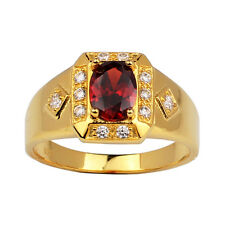 925 Sterling Silver Ring 6x8mm Oval Garnet Red CZ Gold Plated Classic Jewelry