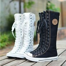 EMO Gothic PUNK Women Rock Boots Girls Shoes Sneaker Knee High Laces Up
