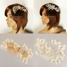 Elegant Crystal Pearls Floral Hair Comb Wedding Bride Party Accessory Jewelry