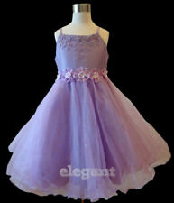 Purple Bead Children Kids Wedding Flower Girls Party Dress Pageant Gown 2-11 Yrs