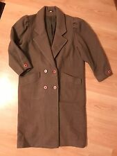 MISS SMITH Womens Brown Pure 100% Wool 3/4 Ruffle Sleeve Over Coat. Size 10