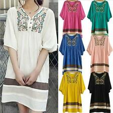 HOT NEW Women Lady Embroidered Maternity Loose Dress Pregnant Short Sleeve Dress