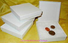 "NEW! 3⅝"" x 3⅝ x 1"" White Swirl Cotton Filled Gift Boxes Jewelry Cardboard Box"