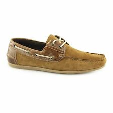 Red Tape STRATTON Mens Suede Leather Slip On Lace Classic Summer Boat Shoes Tan