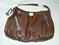 BNWT Maxx New York Genuine Leather Brown Hobo Large Tote Hand Bag with Pockets