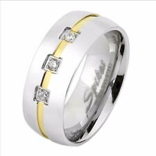 Three Round CZs with Gold IP Line Center Men's Stainless Steel Ring SZ 7-13