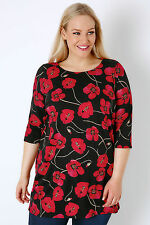 Yoursclothing Plus Size Womens Floral Poppy Print Print Jersey Longline Top