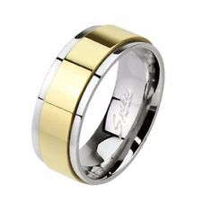 Spinner Gold IP Two Toned 316L Stainless Steel Mens Band Ring SZ 7-12