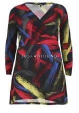 SAMYA PLUS SIZE BOHO FUNKY ABSTRACT PRINT V NECK WRAP TUNIC DRESS MULTI RED