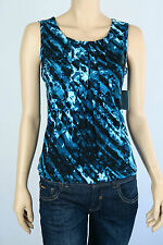 Marc New York Ladies Pleated Front Sleeveless Top XS XSmall Small Colour Blue