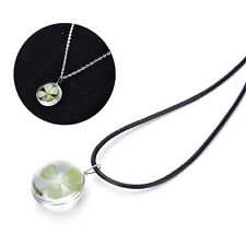 Friends Gift Green Lucky Shamrock Four Leaf Clover Round Pendant chain Necklace