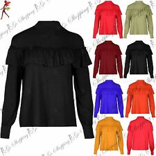 Womens Ruffle Frill T Shirt Ladies Turtle High Neck Cuffed Baggy Top Plus Size