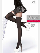 ALEXIS FIORE 40 DENIER MOCK SOCK IMITATION HOLD UP STOCKINGS PATTERN TIGHTS