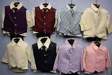 Baby Babies Children Four 4 Piece Waistcoat Suit Set Christening Page Boys Smart