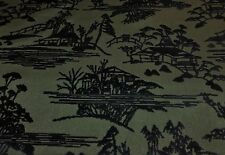 "DONGHIA TOYO INK ""SANSUI"" CHINOISERIE ASIAN VILLAGE TOILE CUT VELVET FABRIC!!"