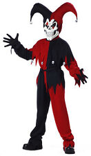 Evil Jester Mardi Gras Red Black Halloween Boys Costume