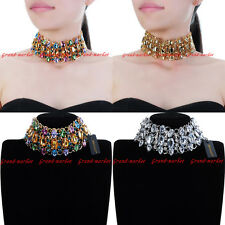 Vintage Punk Gothic Style Chain Acrylic Crystal Choker Statement Bib Necklace