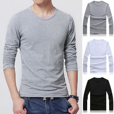 Fashion Men Slim Fit Cotton Crew Neck Long Sleeve Casual T-Shirt Tops Pure Color