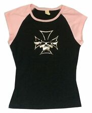Danzig Beast Skull Cross Black Pink Cap Sleeve Girls Juniors Shirt New Official