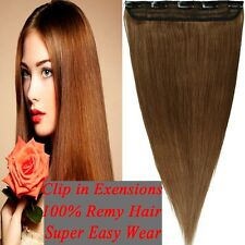 Grade AAA+ Straight Silky Clip in Remy Human Hair Extensions 3/4 Full Head YU239