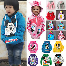 Kids Baby Girl Cartoon Hoodies Sweatshirt Jumper Outfit Coat Jacket Costume 0-9Y