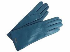 COACH Womens Winter Gloves Wrist Teal Blue Leather Cashmere Lined Logo F82835