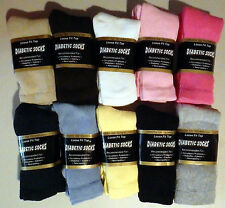 Diabetic Socks White Yellow Pink Blue Grey Navy Brown Khaki Black Womens 3 PAIR