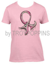 1-WOMENS CUT-COURAGE LOVE HOPE BREAST CANCER RIBBON RACE GRAPHIC PRINTED T-SHIRT