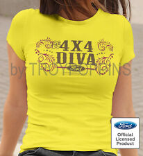 1-LADIES CUT- 4X4 DIVA FORD TRUCK SHOW DIRT RIDER WEAR GRAPHIC PRINTED TEE-SHIRT