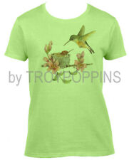 1-LADIES CUT-COZY TIME HUMMINGBIRD MOM & BABY FLOWERS GRAPHIC PRINTED TEE-SHIRT