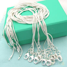 10pcs wholesale Silver Plated 1mm Snake Chain Necklace 16-24inch Fashion