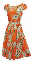 New Orange Cream Floral WWII 1930's 1940's Vtg style Land Girl Swing Tea Dress