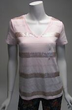 Tommy Hilfiger Pink Sequin & Embroidary Relaxed Fit T-Shirt Sz S, M. L NWT MSRP