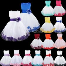 Girls Flower Petals Bow Formal Tulle Dress Princess Wedding Bridesmaid Pageant