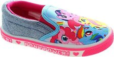 Girls My Little Pony Pink Blue Slip On Canvas Pumps Shoes Trainers Uk Size 6-12