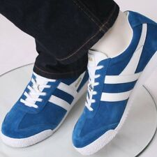 Gola Harrier Classic Suede Lace Up Trainer Sea Blue / White