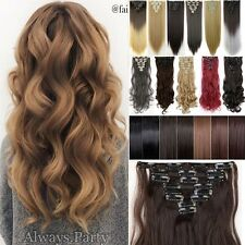 Straight Full Head Clip in Hair Extensions 18Clips 100% Silky For Human Hair LC