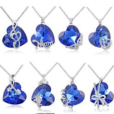 Women Heart Sapphire Crystal Rhinestone Silver Chain Pendant Necklace Jewelry